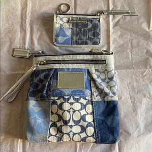Coach Demin & Silver patchwork bag AND card wallet